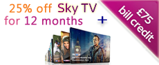 Sky TV with £75 credit